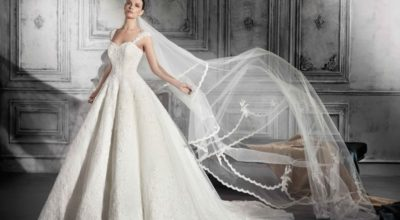 robe de mariée avec une longue traine